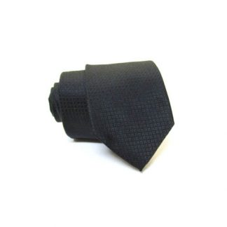 Black Tone on Tone Small Squares Skinny Men's Tie w/Pocket Square 10984-0