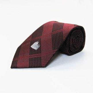 Salt Lake City Temple Maroon, Black Plaid Men's Tie 9539-0