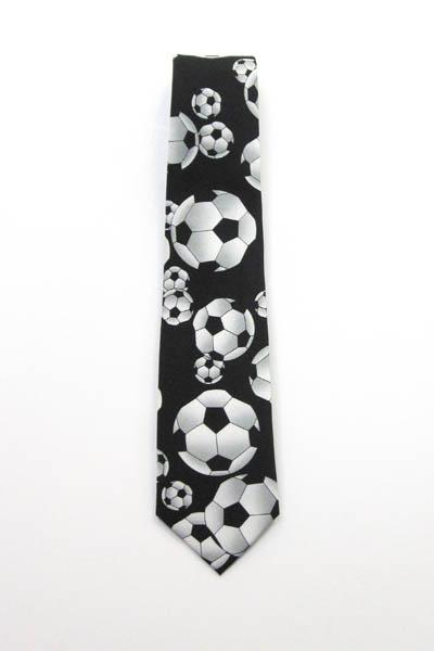 "49"" Boy's Soccer Balls on Black Tie 11256-0"