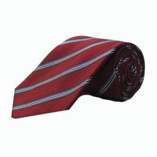 Burgundy, Navy, White Stripe Men's Tie 4222-0