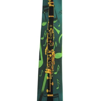 Clarinet and Music Notes on Green Men's Tie 961-0