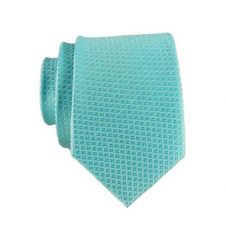 Solid Turquoise Small Square Pattern Men's Skinny Tie w/Pocket Square9178