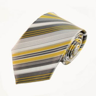 "63"" XL Yellow, Gray, White Stripe Men's Tie 5874-0"