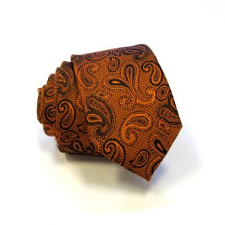 Orange & Black Paisley Skinny Men's Tie w/Pocket Square 4561-0