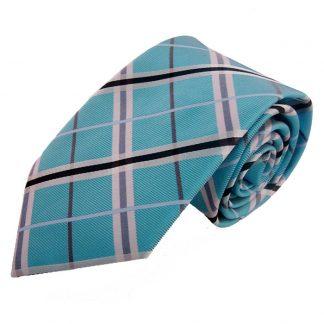 Turquoise & Silver Criss Cross Men's Tie w/ Pocket Square 5188