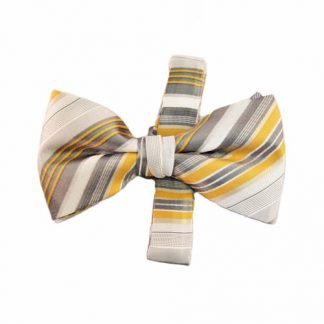 Yellow, Gray, White Stripe Band Bow Tie 4801-0