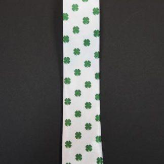 Green Clovers on White Skinny Men's Tie 9606-0