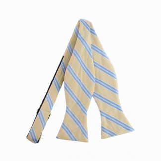 Light Yellow & Blue Stripe Self-Tie Bow Tie 10943-0