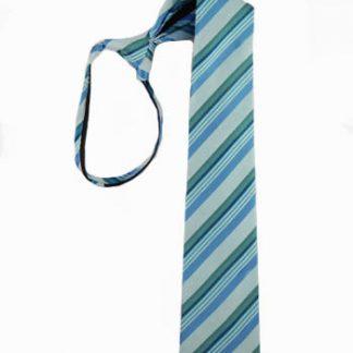 """Boy's 17"""" Zipper Tie Turquoise & Teal Stripe 4026-0"""
