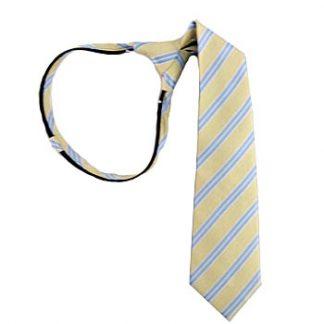 """Boy's 14"""" Zipper Tie Light Yellow & Blue Stripe 5917-0"""