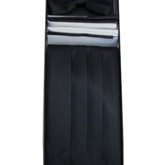 Black Solid Cummerbund w/Matching Bow Tie & Pocket Squares 10719-0
