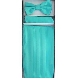 Turquoise Solid Cummerbund w/Matching Bow Tie & Pocket Square 11321-0