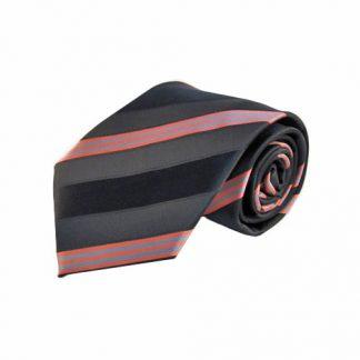 Charcoal, Black, & Salmon Stripe Men's Tie w/Pocket Square 4803-0