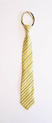 """17"""" Boy's Zipper Tie Yellow & Blue Stripe 10994-0"""