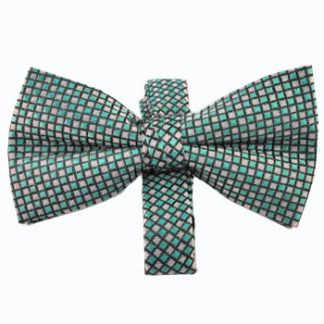Turquoise & Gray Small Square Band Bow Tie 9181-0