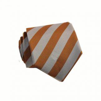 "49"" Boy's Self Tie Orange, Silver Stripe Tie 10031-0"