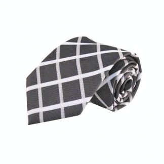 Charcoal, White Large Criss Cross Men's Tie 10976-0