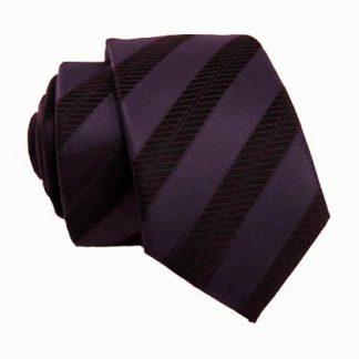 Dark Purple & Black Striped Men's Tie w/ Pocket Square 11035-0