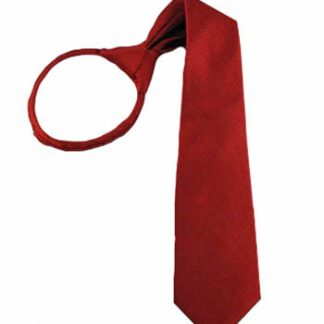 "17"" Boys Red Solid Tone on Tone Small Rectangle Zipper Tie 3191-0"