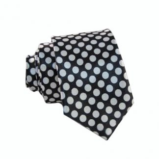 Black & White Polka Dots Skinny Men's Tie 3217-0