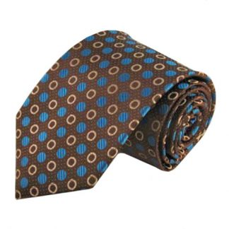 Brown, Turquoise Small Circles Men's Tie 3505-0