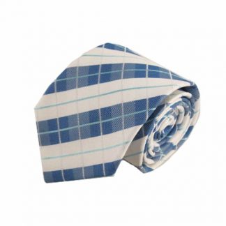 Blue, Turquoise, White Plaid Men's Tie 4430-0