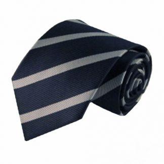 Navy, Silver Wide Stripe Men's Tie 4910-0