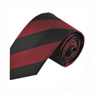 """Burgundy, Black 1"""" Stripe Men's Tie 4948-0"""