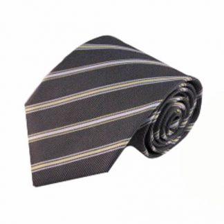 Charcoal, Yellow, White Stripe Men's Tie 6540-0