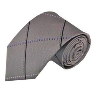Silver, Black Large Grid Men's Tie 8518-0
