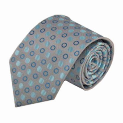 Aqua, Turquoise, Gray Small Circles Men's Tie 8975-0
