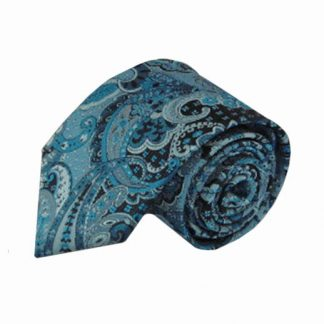 Blue, Turquoise Large Paisley Men's Tie 11203-0