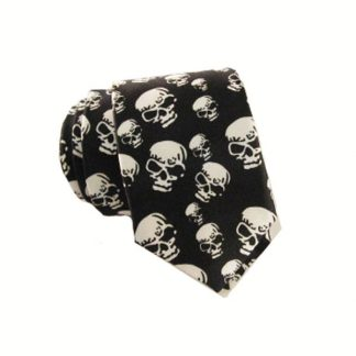 Black and White Skulls All Over Halloween Men's Skinny Tie 11251-0