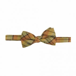 Yellow, Salmon Plaid Band Bow Tie 5504-0