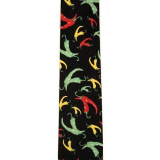 Red, Yellow & Green Chili Peppers on Black Men's Tie 9848-0