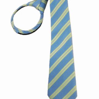 "17"" Boys Green & French Blue Striped Zipper Tie 2378-0"