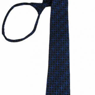 "23"" XL Men's Royal Blue & Black Square Patterned Zipper Tie 3541-0"