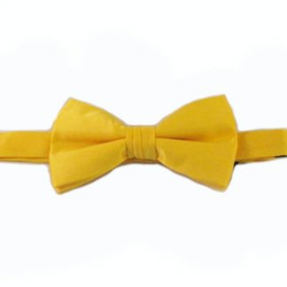 Bright Yellow Solid Banded Bow Tie 3661-0