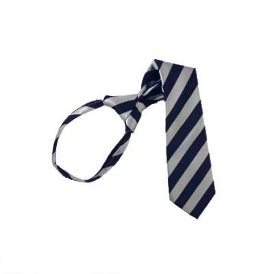 """11"""" Boy's Navy & Silver Striped Zipper Tie 1366"""