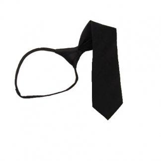 """14"""" Boy's Solid Black Zipper Tie 10432"""