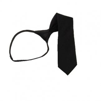 "11"" Boy's Solid Black Zipper Tie 10520"