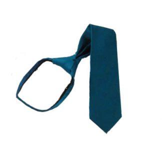 """11"""" Boy's Solid Teal Zipper Tie 5821"""