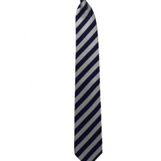 "21"" Men's Navy & Silver Striped Clip On Tie 7362"
