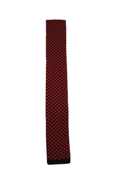 Black & Red Checker Knit Tie