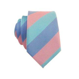 Skinny Aqua Lavender & Pink Striped Tie 10434