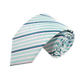"""63"""" XL Turquoise & White Striped Men's Tie 8981"""