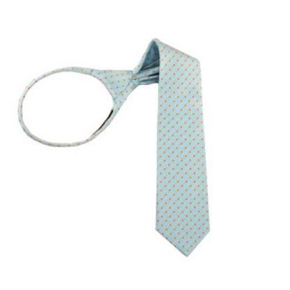 "11"" Turquoise w/ Orange Dots Boy's Zipper Tie 7861"