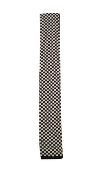 Black and White Check Knit Men's Tie 8027