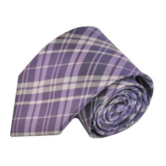 "63"" XL Lavender & Gray Plaid Men's Tie 8702-0"