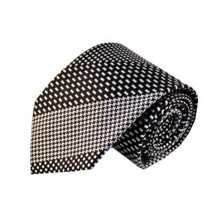 Black & White Pattern Stripe Men's Tie w/Pocket Square 11134-0